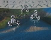 8 Very Small Cinderella Pumpkin Coach Princess Charms 3 D Small Antique Silver Tone Fairy Tale Charm Jewelry 12x12x4 mm