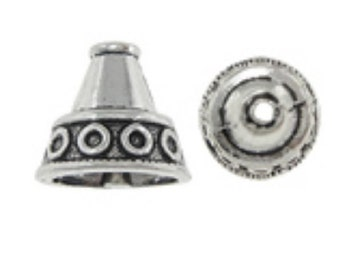 8pc antique silver 13x12mm cone shape bead cap-8476