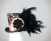 Peach Mini Top Hat,Mad Hatter hat, Wedding hat, Burlesque hat, Alice in Wonderland, Steampunk, Victorian,Bridal,Bachelorette party, Cosplay