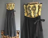 50s Strapless Prom Dress in Black and Gold Taffeta