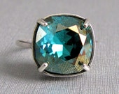Blue Champagne Swarovski Crystal Ring Adjustable Antique Silver Square Cushion