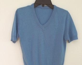 Vintage blue womens short sleeve acrylic sweater