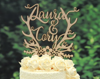 Personalized Last Name Wedding Cake Topper, Custom Linden Wood Mr and Mrs Cake Topper, Personalized with YOUR Last Name #107