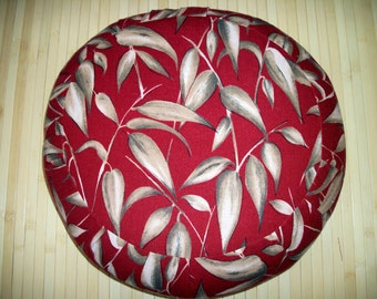 Meditation Cushion. Zafu. Round Floor Pillow. UNFILLED COVER. Linen-blend, Maroon w. Leaves Print. Sidewall Zipper. Handmade, USA