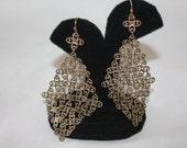 Vintage Filigree Earrings, Drop Dangle , Boho Jewelry, Chain Mail, 1970s Jewellry