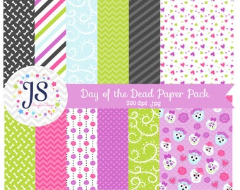INSTANT DOWNLOAD, halloween day of the dead digital paper for commercial use or personal use