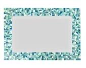 Mirror for Beach House, Mosaic Wall Mirror in Sea Foam Green, Aqua, Turquoise and White