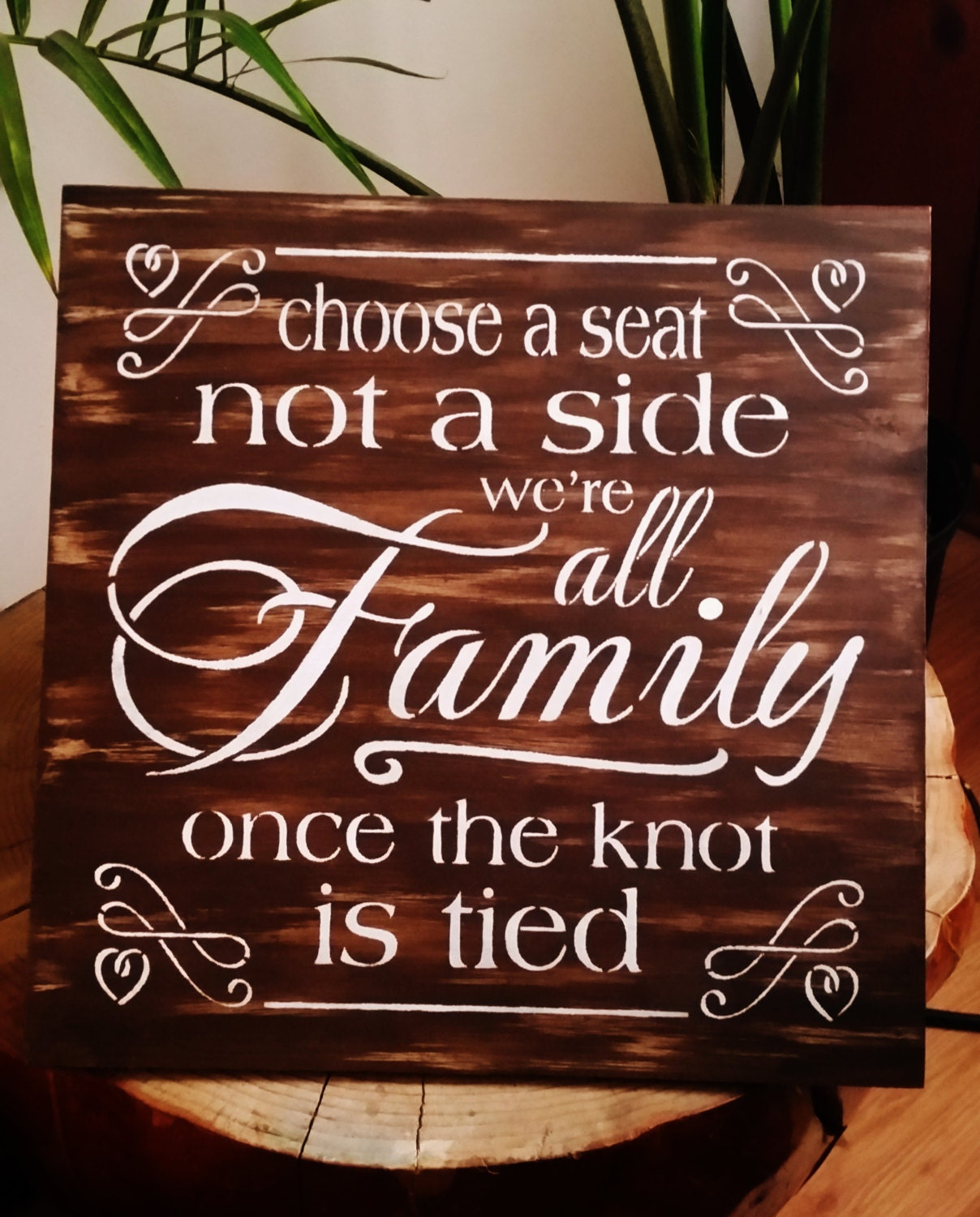 Seating Sign Wedding Sign Rustic Choose A Seat Not A Side