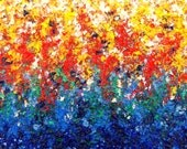 Rainbow Abstract Painting Art Print, Giclee Print of Modern Impressionism Art, Bright Wall Art, ROYGBIV Oil Painting, 5x7, 11x16, Home Decor