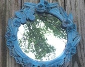 """Round Baroque Metal Mirror - 12"""" Wall Hanging Cottage Chic Ornate Teal Blue"""