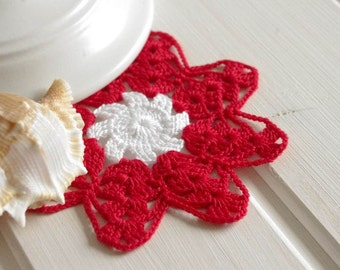 Small crochet doily Home decorations Mini red and white doily flower Handmade cotton lace crochet doilies 119