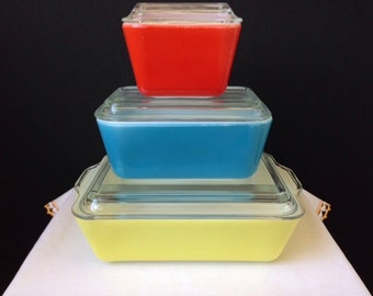 Pyrex - Primary Colors -  Refrigerator Dishes - Yellow, Red, Blue - Six Pieces