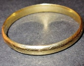 Antique 14 K Gold Etched Bangle Bracelet