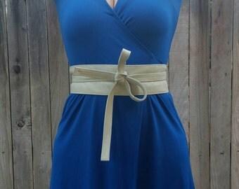 Ivory Leather Wrap Obi Belt -  Unique Wide Belts - Women Tie Belts - Wraparounds Belts - Classic