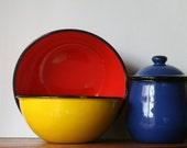 Vintage Mid Century Enamel Bowl Canister Set Primary Colors 5 piece Red Blue Yellow Artist Studio Loft Decor Storage