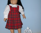 18 Inch American Girl Doll red plaid jumper and white blouse by by Project Funway on Etsy