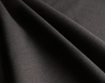 Plain Black Ponti Roma 4 way Stretch Heavy Jersey Fabric - sold by the metre - UK SELLER (L1)