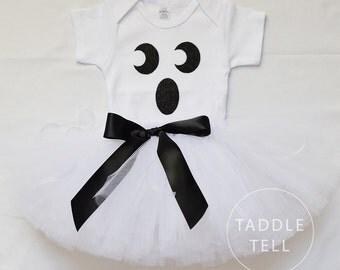 Ghost Halloween Costume Tutu, Includes Tutu & Shirt  - Sizes Newborn to 4 years old