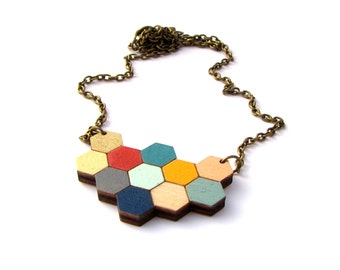 Hexagon Honeycomb Geometric Wooden Laser Cut Necklace - Bee Lover - Contemporary Jewellery
