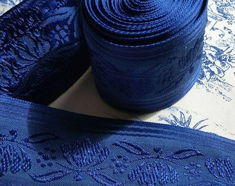 Grande Morceau of Exquisite Vintage French Midnight Blue Silk Embroidered Passementerie Trim-3.23 Mtrs