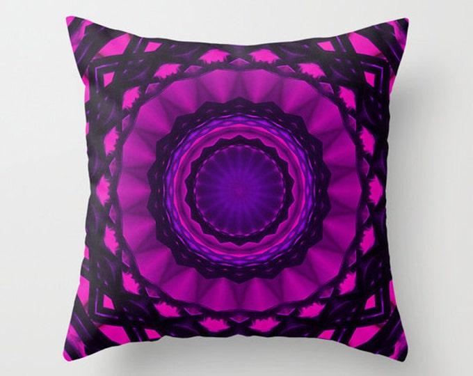 Shades of Pink Kaleidoscope Decorative Throw Pillow, Art Throw Pillow, Pillow Covers, Photo Pillow, Photography, Digital Art