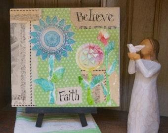 Believe - Faith Inspirational Plaque, Torn Paper Art Collage, Marji Stevens