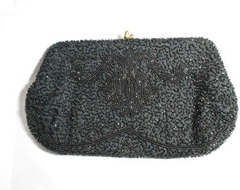 Magid Black Beaded Clutch Purse