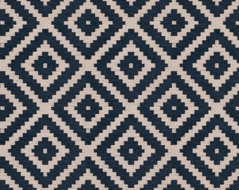 Navy Blue Geometric Chenille Upholstery Fabric For Furniture Plush Blue Pillow Cover Material Navy