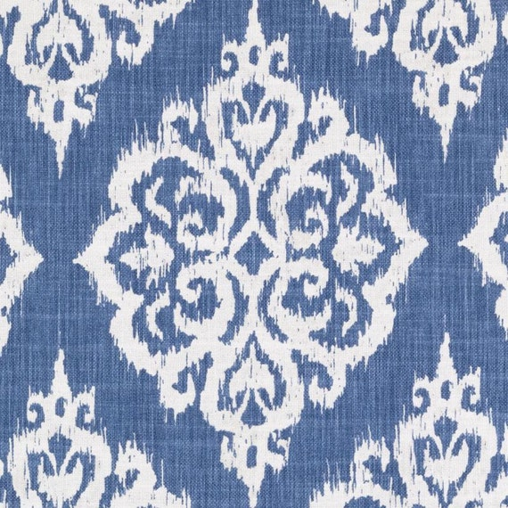Ocean Blue Woven Damask Upholstery Fabric Large Scale