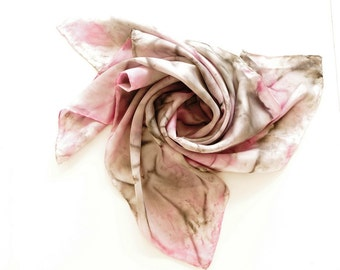 Silk scarf  handpainted. Pink and grey. 90x90 cm. bandana. special gift day. handkerchief.