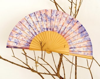 Silk hand fan handpainted. pink and lavender. gift wedding. personalized gift.