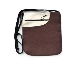 Purse  messenger bag cotton bag crossbody bag brown