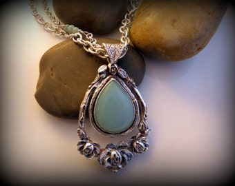 Recycled Silver, Chalcedony, Rose, Pendant, Necklace, Cabochon, Sterling Silver, Handmade Chain, OOAK, Sale Today
