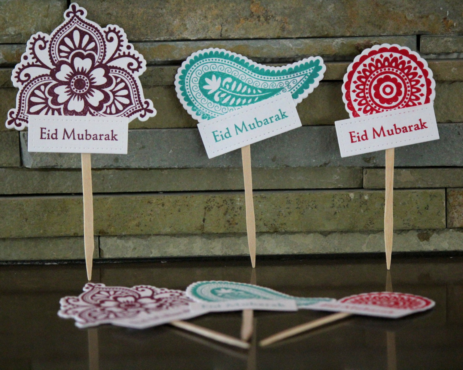 Mehndi Cake Toppers : Eid cupcake toppers henna mehndi design for set by