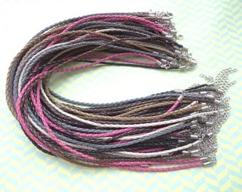30pcs 3mm 20-22 inch adjustable assorted color(6 colors) faux braided leather necklace cord