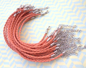 50 pcs 3mm 7 -9 inch adjustable Orange faux braided leather bracelet with lobster clasp