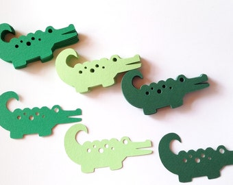 60pcs from 3 Different colors Jungle Alligator Crocodile Shape Die Cuts ,Scrapbooking , Party Decorations , Tags , Labels