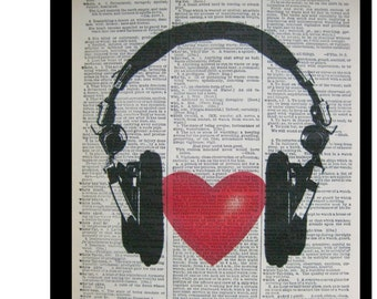 Love Music,Headphones with Heart- Music Decor, Mixed Media art print on 8x10.5 Vintage Dictionary page, Dictionary art, Dictionary print