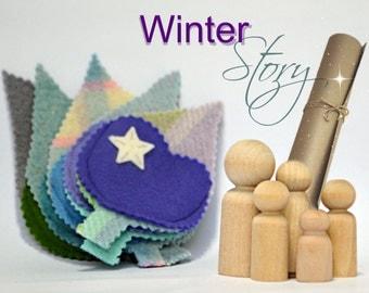 Seasonal story dolls / Travel Toys for Kids / Pretend Play Toy. Waldorf inspired. Kids activity. Winter Pocket dolls FREE Shipping Australia
