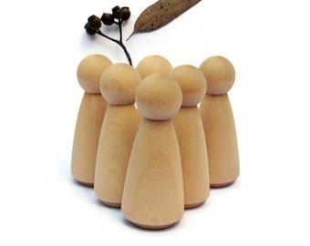 Wooden PEG DOLLS x6 Blank peg dolls craft - 6 'Mama' style > Large wood pegdolls Waldorf play Montessori Home Daycare Puppet Story Australia