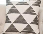 Zak and Fox Uroko Ink Pillow - Black Linen Designer Pillow Cover - Geometric Throw Pillow - Modern Pillow - Neutral Pillow - Tribal