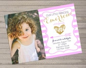 Pink and Gold Girl's Birthday Invite with Photo