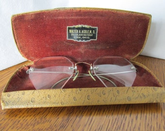 Vintage Hexagon Glasses and Case