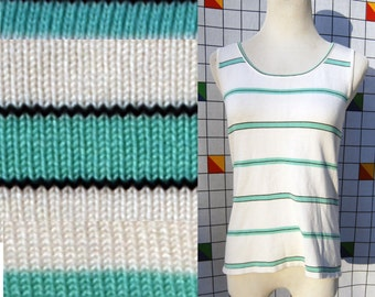 MINT STRIPES Black Lined Green Aqua Striped Sleeveless Tank Top