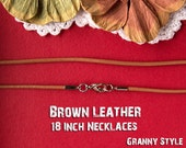 10 - 18 Inch Brown Leather Chain Necklaces Use With 1 Inch Circle Bezel Trays