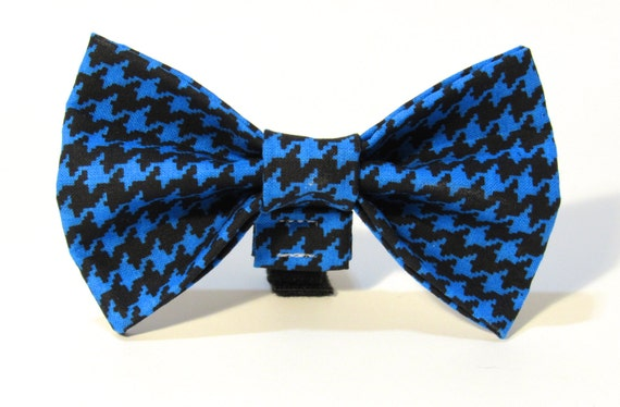 Blue Houndstooth Doggie Bow Tie, Bow Tie, Blue, Houndstooth, Dog Bowtie