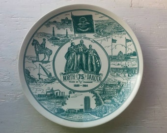 "What a Find! An Antique 1964 NORTH DAKOTA 75th Anniversary Commemorative ""Diamond Jubilee""  PLATE from Kettlesprings Kilns"