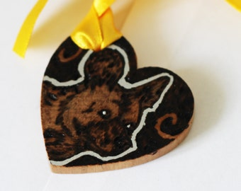 Pyrography Wood Burning -  African Wild Dog Love Token - Wooden Heart Gift