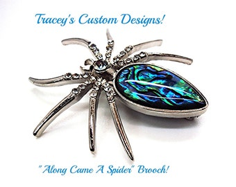Stunning HALLOWEEN SPIDER BROOCH with Swarovski Crystals and Abalone