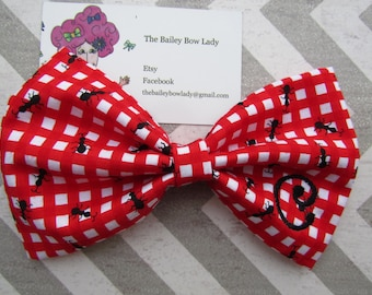 Monogrammed Picnic Ant Fabric Hair Bow